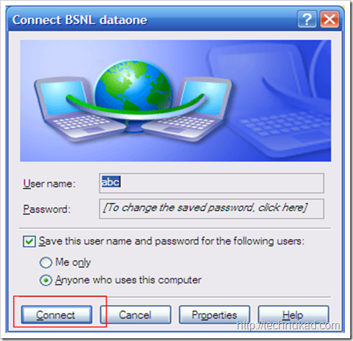 Connecting to BSNL Broadband using dial up connection