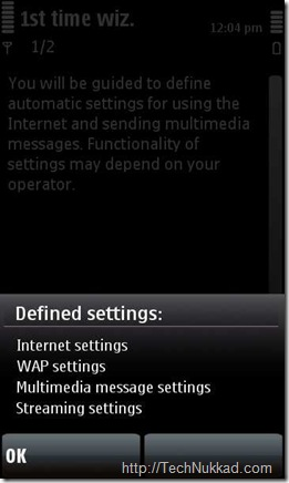 Automatic GPRS,MMS,WAP settings