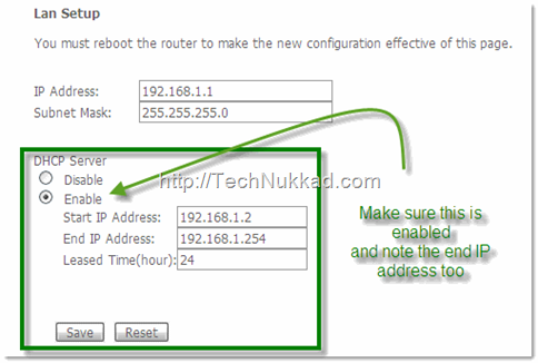 enable DHCP on your router