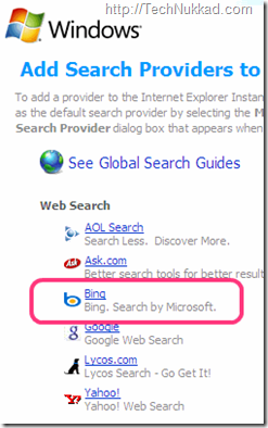 Bing search on IE