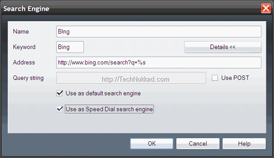 Bing Search on Opera