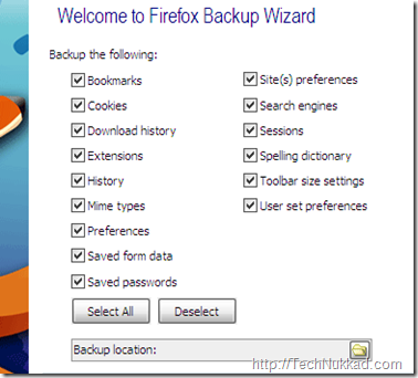 Backup and restore browser settings 1