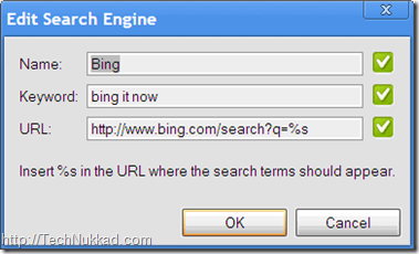 Bing search at Chrome