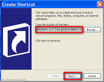 Automatic scheduled system shutdown shortcut
