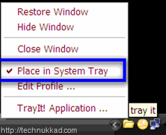 Minimize application to system tray